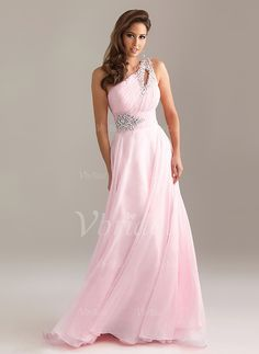 Prom Dresses - $182.80 - A-Line/Princess One-Shoulder Floor-Length Chiffon Prom Dress With Ruffle Beading (0185094737)