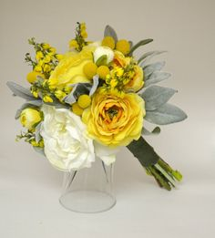 Yellow and White Garden Bouquet  High by blueorchidcreations, $100.00