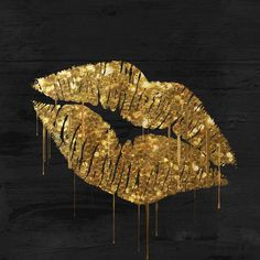 Trademark Art 'Golden Lips' by Color Bakery Graphic Art on Wrapped Canvas Size: Canvas Artwork, Canvas Prints, Fleurs Diy, Detail Art, Painting Prints, Art Paintings, Art Print, Painting Canvas, Giclee Print