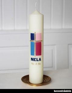 Taufkerze Kommunionkerze Pillar Candles, Diy And Crafts, Pink, Crafting, Blue, Inspiration, Candles, Worship Service, Ideas