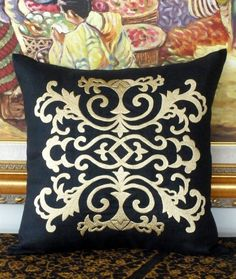 """Golden Damask Embroidered Throw Pillow Cover - Black Linen Decorative Pillow Cover 18"""" x 18"""". $25.00, via Etsy."""