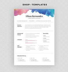 Creative Resume Template For Word Instant Download Cv  Web And