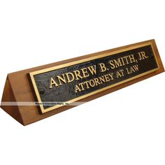 Desk Nameplates made of solid bronze on solid walnut make a solid impact as grad…