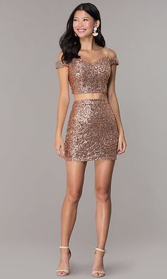 homecoming dresses tight two piece Sequin Short Off-Shoulder Homecoming Dress - PromGirl Elegant White Dress, Elegant Dresses, Pretty Dresses, Casual Dresses, Fashion Dresses, Formal Dresses, Formal Outfits, Sweater Dresses, Dress Clothes