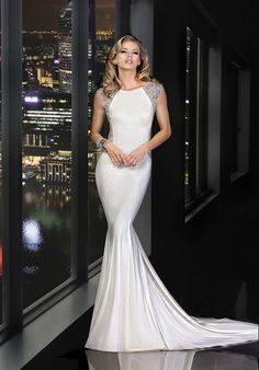 Diamond white beaded wedding gown with sabrina neckline and open back | 90162 from Simone Carvalli