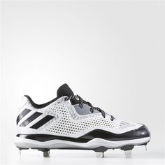 015883630 Adidas PowerAlley 4 Cleats (Running White Ftw / Black / Metallic Silver)  Adidas Baseball