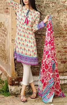 Buy Beige Printed Cotton Lawn Dress by Khaadi Lawn Collection Vol.II 2015.