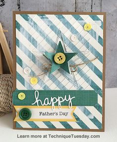 Wonderful Father's Day card by Daniela Dobson! Daniela made it with clear stamps and steel dies from TechniqueTuesday.com.