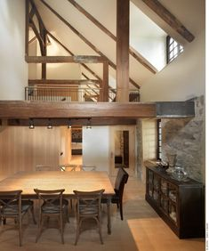 Wooden Interior1 Old Home Meets Contemporary Architecture: Bord du Lac House in Canada