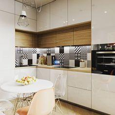 Кухня в небольшой квартире 44 м2 от ac_design_studio. #дизайнквартиры #квартира #идеякухни #кухня #идеиремонта #скандинавскийстиль #стильныйинтерьер #визуализация