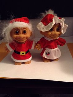 "Santa Claus and Mrs Claus Troll Dolls 5"" circa 1990 by BlingThings on Etsy https://www.etsy.com/listing/210048532/santa-claus-and-mrs-claus-troll-dolls-5"