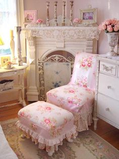 Don't Forget the Florals:     In addition to lace, delicate floral patterns are all but a requirement in shabby chic designs. Traditional shabby chic decorators prefer different shades of demure pink roses when it comes to their fabric choices. RMS user and shabby chic super fan vintagerosecollection combined intricate lace fabrics with feminine florals in her comfy bedroom.