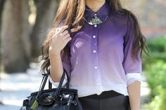 Love this purple ombre top! Pretty Outfits, Cool Outfits, Winter Outfits, Ombre Shirt, Ombré Hair, Dress Attire, Love Fashion, Womens Fashion, Teen Fashion