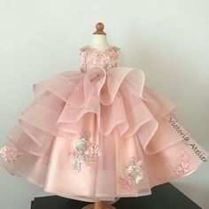 Custom made dress with lace appliqués, long detachable train and matching head piece for little princess from Qatar 👸🏼 🌸✨💎 Kids Frocks, Frocks For Girls, Gowns For Girls, Dresses Kids Girl, Cute Dresses, Beautiful Dresses, Girl Outfits, Flower Girl Dresses, Little Girl Gowns