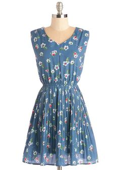 In My Finest Flower Dress - Woven, Mid-length, Blue, Red, Floral, Print, Pleats, Casual, Sundress, A-line, Sleeveless, Spring