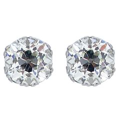 Old Mine Cushion Shape Diamond Stud Earrings, Circa 1920.   From a unique collection of vintage stud earrings at http://www.1stdibs.com/jewelry/earrings/stud-earrings/