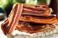 """grunge-is-how-i-live: """" useless-romaniafacts: """" Everyone likes bacon. In Romania, we take it even further because you can buy them in chunks, in addition to the sliced bacon that is readily available. Best Meats To Smoke, Cold Cuts, Lard, Romanian Food, Smoked Bacon, Smoking Meat, Sausage, The Best, The Cure"""