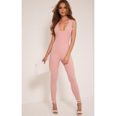 Lindiana Blush Scallop Detail Jumpsuit ($13) ❤ liked on Polyvore featuring jumpsuits, pink, jump suit, pink jumpsuits, party jumpsuits, tailored jumpsuit and crepe jumpsuit