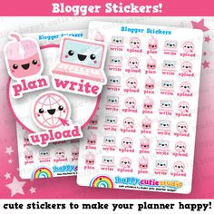 42 Cute Blogger / Blogging / Plan / Write / Upload Planner Stickers, Filofax, Erin Condren, Happy Planner, Kawaii, Cute Sticker, UK