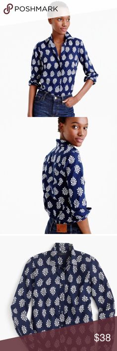 Fern Print Perfect Shirt NWT Navy and white. Shaping seams make this style more fitted. 100% cotton. J. Crew Tops Button Down Shirts