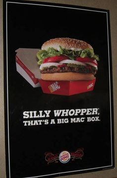 This Burger King ad is taking a shot at McDonalds, I would of loved to see their reaction to this. Is a whopper really that much bigger than a big mac…? Makes you maybe wanna go look
