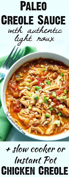 Paleo Creole Sauce with an authentic gluten-free, grain-free roux + how to make Chicken Creole in the slow cooker or Instant Pot! Cajun Recipes, Real Food Recipes, Crockpot Recipes, Chicken Recipes, Cooking Recipes, Healthy Recipes, Chicken Creole Recipe, Creole Recipes, Paleo Food