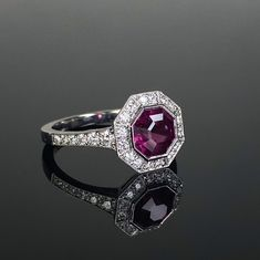 Platinum mounted diamond and garnet 1920's style millegrain cluster ring.Central garnet cut in-house. Made in Chichester, England. Marquise Diamond, Diamond Cluster Ring, Oval Diamond, Diamond Pendant, Diamond Cuts, Cushion Cut Diamonds, Emerald Cut Diamonds, Princess Cut Diamonds, Chichester England