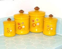 Items similar to Set of 4 Retro Kitchen Canisters on Etsy Mellow Yellow, Orange Yellow, Vintage Canister Sets, Kitchen Canisters, Favorite Color, Vintage Inspired, Yearning, Retro, Unique Jewelry