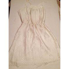 White silk dress White lined spaghetti strap dress. Cut out flower & scallop detail at bottom. Bisou Bisou Dresses