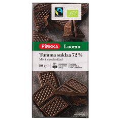 Pirkka Luomu tumma suklaa 72% 80g (vajaan 2 euroa)