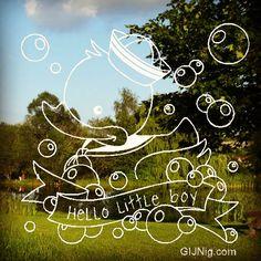 Raamtekening ontwerp baby badeend matroos van GIJNig.com #raamtekeningontwerp #baby #geboorte #jongen #naam #illustratie #krijttekening #woondecoratie #gijnig