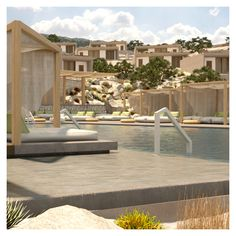 The hotel is designed amphitheatrically, with the private areas visually separated from the common ones. The private rooms are located on the higher levels, providing unobstructed view. The common areas are located on the lower levels, providing functionality. Swimming Pool Designs, Swimming Pools, Swimming Pool Architecture, Pool Bar, Private Room, Common Area, Jacuzzi, Outdoor Pool, Rooms