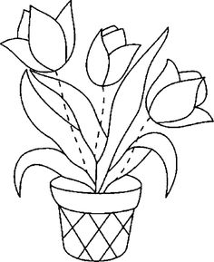 Tulips coloring page 16 Felt Flowers Patterns, Floral Embroidery Patterns, Applique Patterns, Applique Designs, Sewing Appliques, Landscape Art Quilts, Flower Landscape, Watercolor Birthday Cards, Watercolor Cards