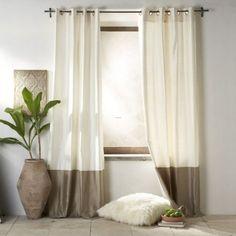 rideaux de salon en soie de couleurs ivoire et taupe tendance