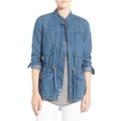 Women's Hinge Denim Field Jacket ($59) ❤ liked on Polyvore featuring outerwear, jackets, miner medium worn, denim drawstring jacket, blue denim jacket, cinch jackets, military jacket and blue field jacket