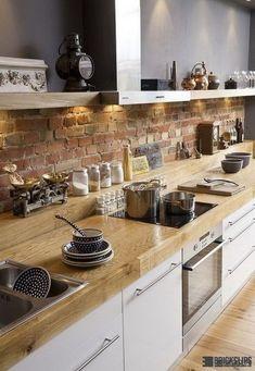 Creative Cute Exposed Brick Kitchen Ideas – Decorating Ideas - Home Decor Ideas and Tips Kitchen Interior, Kitchen Design Small, Old Fashioned Kitchen, Brick Kitchen, Exposed Brick Kitchen, Brick Wall Kitchen, Kitchen Diner, Rustic Kitchen, Kitchen Renovation