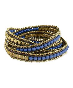 Blue & Gold Beaded Leather Wrap Bracelet is perfect! #zulilyfinds - made one recently, like the beaded edge on this
