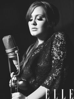 Adele black and white microphone