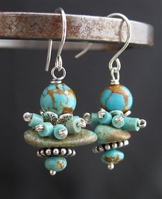 Turquoise Beaded Cluster Earrings, LoneRockJewelry
