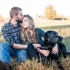 Engagement photos with the dog - classic country couple.