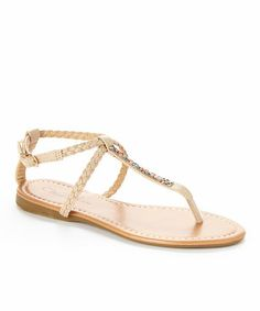 This Beige Xanthia T-Strap Sandal is perfect! #zulilyfinds