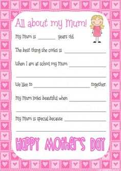 Get your students to answer these questions and record their answers to give to Mum on Mother's Day.Some of our responses were just too cute... only out of the mouth of babes!It is available with