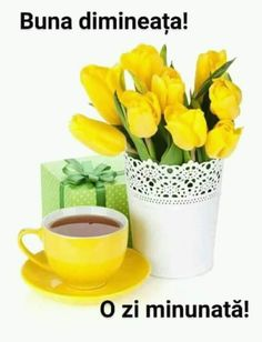 Zdjęcie Yellow tulips, tea cup and gift box. Isolated on white background obraz seryjny, obrazy i fotografie seryjne Image White Background Images, Yellow Tulips, Indoor Outdoor, Tea Cups, Planter Pots, Coffee, Box, Gifts, Lovers