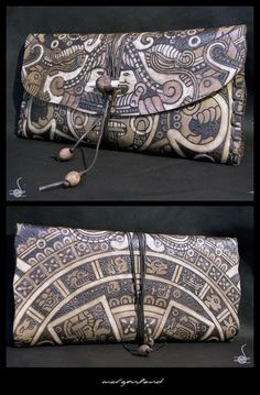 """Aztec Calendar"" Leather Tobacco Pouch Pyrography on leather – antic finish"