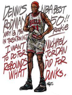 #Yellowmenace: NBA LEGENDS by KIM MINSUK (김민석) - Lots of buzz bout Dennis Rodman lately  *See More Minsuk Basketball Art HERE - NBA Season 2014-15> http://yellowmenace8.blogspot.com/2015/04/art-minsuk-kim-nba-2014-15-season-in.html Korean Basketball> http://yellowmenace8.blogspot.com/2015/05/art-korean-basketball-illustrated-by.html
