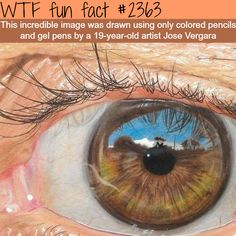 """Awesome art by Jose Vergara - WTF fun facts"" ...this was drawn using colored pencils and gel pens... totally awesome, ain't it!!"