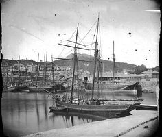 Topsail schooner and other ships in the harbour, Porthmadog, Wales [ca. 1875]