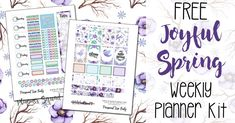 Make your planner look gorgeous this season with this free Joyful Spring weekly planner kit.
