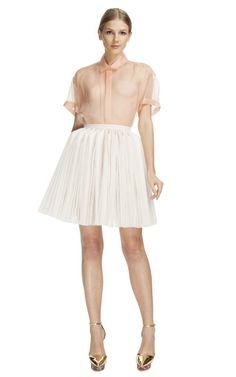 White Pleated Skirt by DELPOZO for Preorder on Moda Operandi