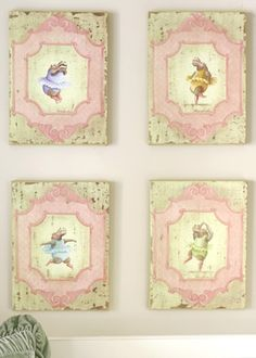 Vintage Ballerina Hippo Set of 4 Venetian Lithographs #LaylaGrayce #newportcottages
